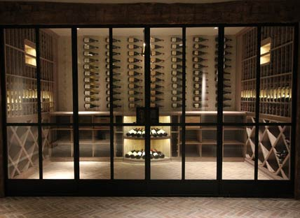 Glass-Enclosed Wine Cellars